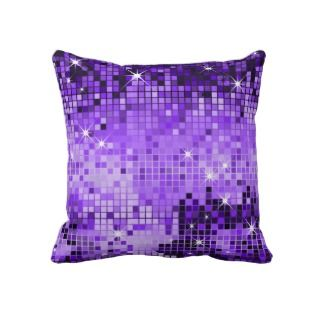 Purple Metallic Sequins Glitter Abstract Pixel Art Pillows
