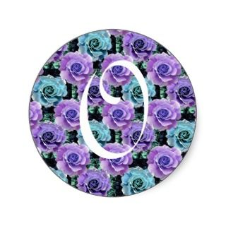 Monogram Letter O Blue Roses Sticker
