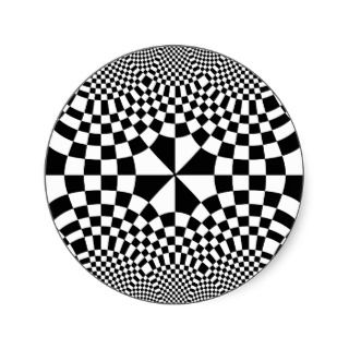 Swirling Checkers Optical Illusion Black & White Stickers