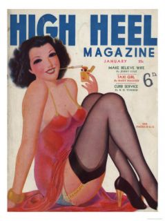 High Heel, Shoes Stockings Pin Ups Glamour Womens Portraits Magazine, USA, 1930 Premium Poster