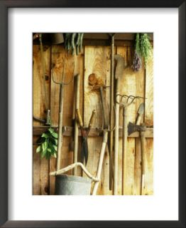 Garden Tools Hanging in Shed Fork, Shears, Rake, Lopper, Axe, Saw & Gardening Gloves Pre made Frame