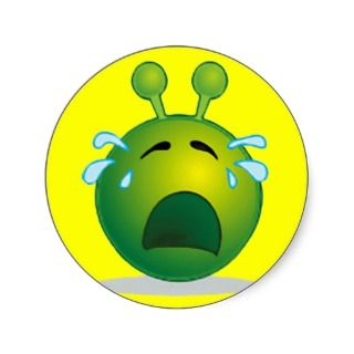 Happy Face: Smiley Green Alien Cry Stickers