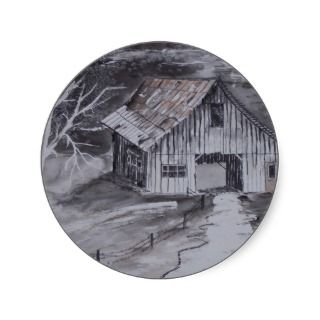THE BARN folk art country painting drawing Stickers