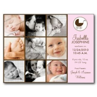 Photo Collage Pink Baby Birth Announcement Postcards