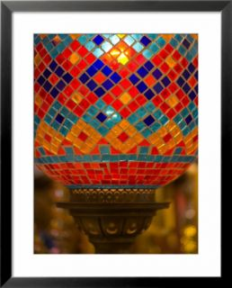Stained Glass Lamp Vendor in Spice Market, Istanbul, Turkey Pre made Frame