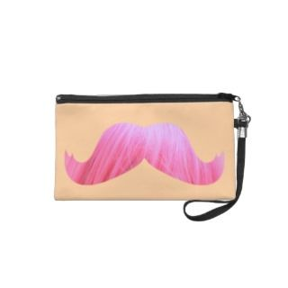 Girly pink funny mustache wristlet purses