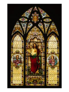 Detail of Rose Stained Glass Window, Church of the Nativity, Menlo Park, CA, 1900 Premium Poster