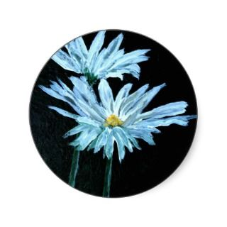 oil painting of white daisy flowers modern art round stickers