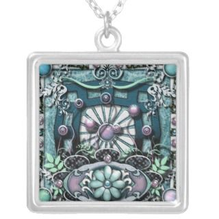 Digital Mandala Collage Art Pendant Necklace