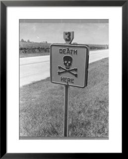Skull and Crossbones Surrounded by the Words Death Here marking fatal car accident Pre made Frame