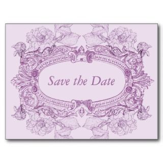 Antique Frame Lilac Save the Date Postcard by starstreamdesign