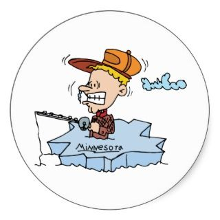 Minnesota MN Ice Fishing Travel Souvenir Sticker