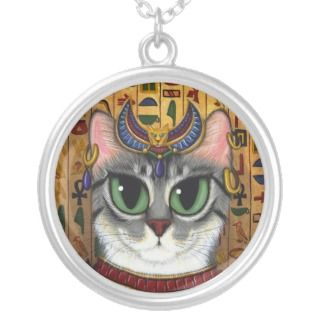Bast Goddess Egyptian Bastet Cat Art Necklace
