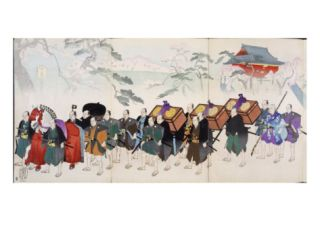 Samurai Warriors on the March, from a 19th Century Album of Woodcuts, Hand Colour Wood Block Print Giclee Print