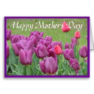 Purple Tulips Flower Art Mothers Day Card Template by alinaspencil