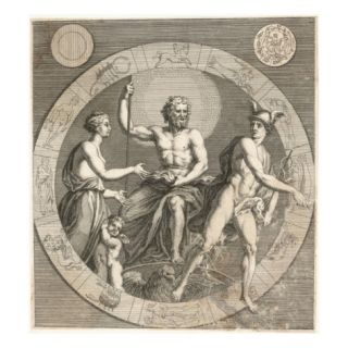 Greek Gods Aphrodite, Cupid, Zeus and Hermes Giclee Print