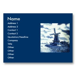 Delft Blue Tile   Windmill Business Card Templates