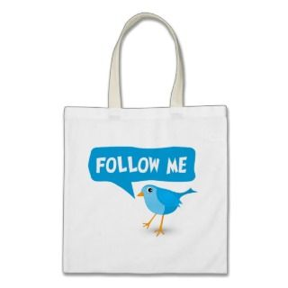 Follow Me Twitter Blue Bird Budget Tote Bags