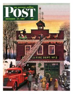 Christmas at the Fire Station Saturday Evening Post Cover, December 16, 1950 Giclee Print by Stevan Dohanos