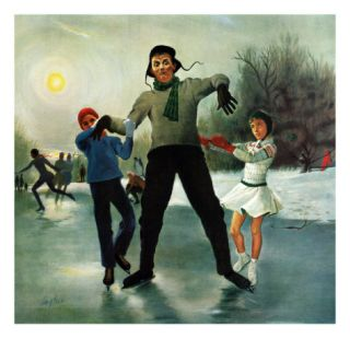 Ice skating Class for Dad, February 8, 1958 Giclee Print by George Hughes