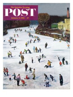 Fox River Ice Skating Saturday Evening Post Cover, January 11, 1958 Giclee Print by John Falter