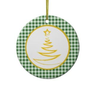 Green Gingham Photo Template Holiday Ornament