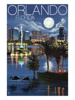 Orlando, Florida   Skyline at Night Print by Lantern Press