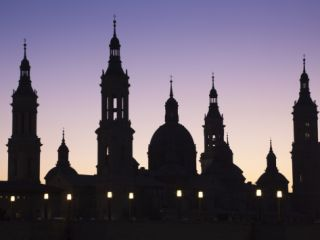 Spain, Aragon Region, Zaragoza Province, Zaragoza, Basilica De Nuestra Senora De Pilar and the Puen Photographic Print by Walter Bibikow