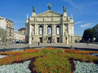 Floral Feature Outside the Lviv Theater of Opera and Ballet, Named after I,Franko Photographic Print by Christian Kober