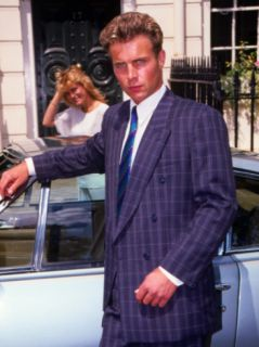 Retro Male Fashion Model, Posing, Sports Car, 1980s Photographic Print