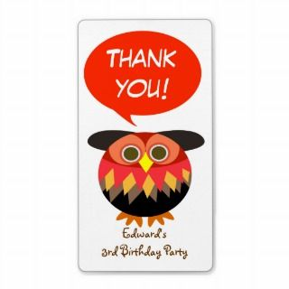 Kids Birthday Thank You Sticker: Owl Custom Shipping Label