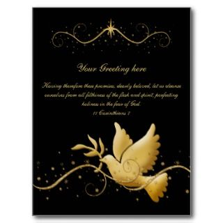 Gold dove of peace bible verse christian greeting post cards