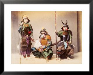 Japanese Samurai Warriors, circa 1880 Pre made Frame