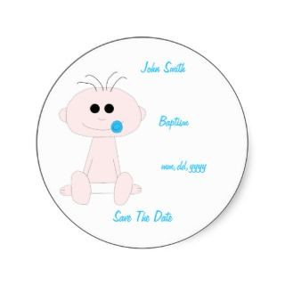Baby Boy Baptism Save The Date StickerTemplate