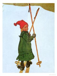 Little Girl Skiing Giclee Print by Carl Larsson