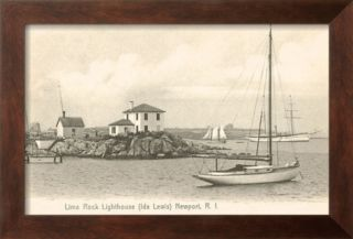 Lime Rock Lighthouse, Newport, Rhode Island Pre made Frame
