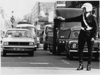 Traffic Police Officer Directing Traffic in London Metropolitan Police Photographic Print