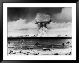 Huge Mushroom Cloud Hangs over Bikini During American Atomic Bomb Test Pre made Frame