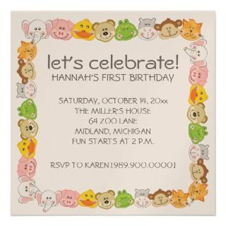 Animal Faces Kids Birthday Party Invitations