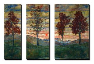 Four Trees, 1917 Canvas Art Set by Egon Schiele