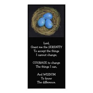 BIRD NEST: SERENITY PRAYER: COLOR PENCIL ART RACK CARD