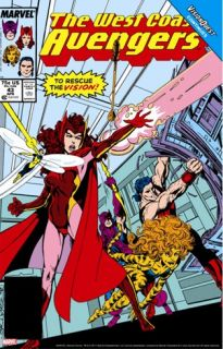 Avengers West Coast #43 Cover: Scarlet Witch Stretched Canvas Print by Byrne John