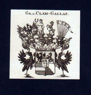 1780 Grafen v. Clam Gallas Heraldik Kupferstich Wappen