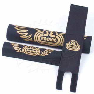 SE Racing Bikes BMX Retro Padset Pad Set Black Gold Wings Protection