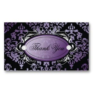 311 Luxuriously Purple Damask Thanks You Hang Tags Business Card