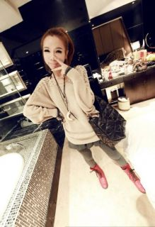 Neue Frauen Langarm Tops Perle Knit T Shirt Sweater Jacket Coat