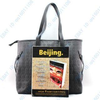 Womens Large Skull Print Black Faux Leather Shoulder Bag Handbag