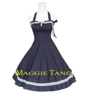 Navyblau 50er 60er Jahre Pin up Tanz Kleid z. Petticoat Rockabilly