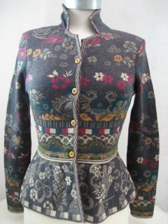weste jacke cardigan vest grey grau floral pink wol L 40 UK 14