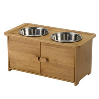 Richell USA Také Pet Bamboo Serving Cabinet   Dog   Boutique